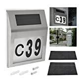 WOWOSS Solar Lighted Address Sign House Number Light, Solar Powered 2LED Apartment Doorplate Number Light Outdoor Wall Plaque Lamp Waterproof