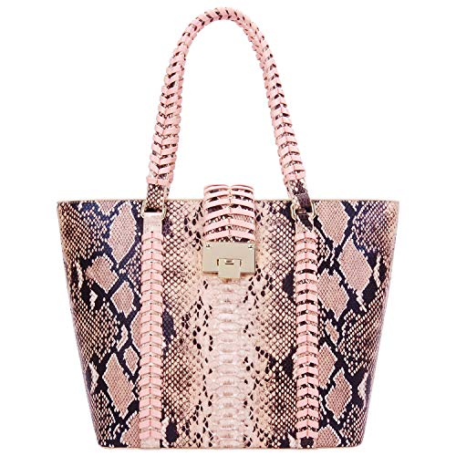 Pink Handbag Snake - PACO TORA Tote Bags for Women PU Leather Handbags Large Tote Purse Pattern Shoulder Bag - Urban Safari Collection (Snakeskin)