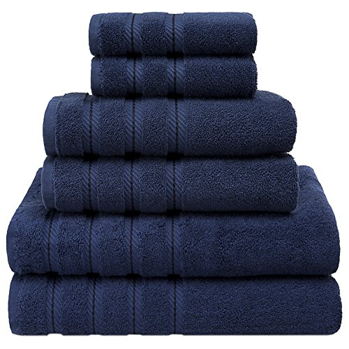 l & Spa Quality, 6 Piece Kitchen and Bathroom Turkish Towel Set, 100% Genuine Cotton for Maximum Softness and Absorbency by American Soft Linen, [Worth $72.95]  (Navy Blue) (Border Blue Gingham)