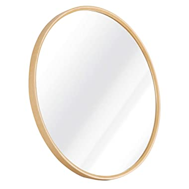 TinyTimes 19.69  Wooden Wall Mirror, Round Vanity Mirror, Dresser Mirror, Frame Material Wooden, for Entryways, Living Rooms, Bathroom, Home Mirrors Decor (Natural)