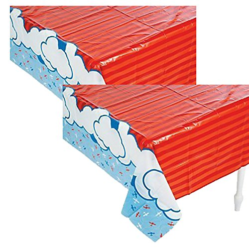 Party Supplies Inc. Plastic Up & Away Airplane Tablecover - 54 x 108 (2 Pack)