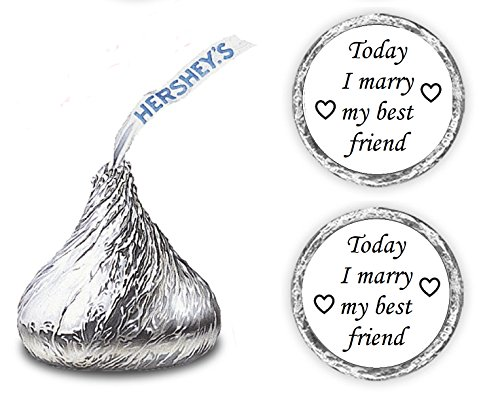 324 Today I Marry My Best Friend Hershey Kisses Wedding Stickers, Chocolate Drops Labels Stickers For Weddings, Bridal Shower Engagement Party, Hershey's Kisses Party Favors Decor