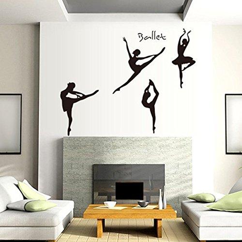 Let'S Diy Girls Dancing Ballet Wall Stickers Removable PVC Home Art Decor for Ballet Studio Dance Studio Girls Room