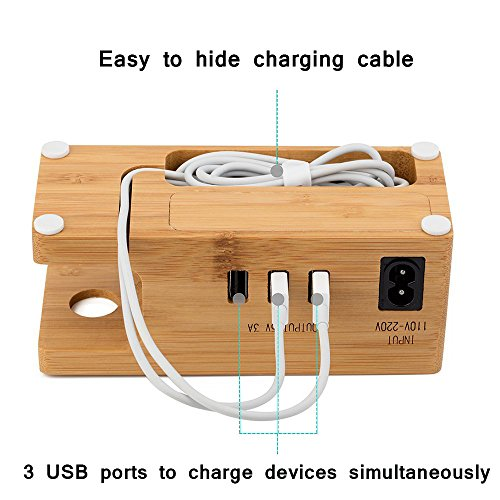 AICase Bamboo Wood USB Charging Station, Desk Stand Charger, 3 USB Ports 3.0 Hub, for iPhone 7/7Plus/6s/6/Plus/5s & 38mm/42mm Apple Watch, Samsung & Most Smartphones (Bamboo Wood) by AICase (Image #2)
