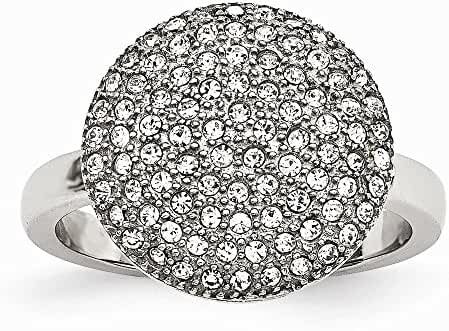 Chisel Stainless Steel Polished with Preciosa Crystal Circle Ring