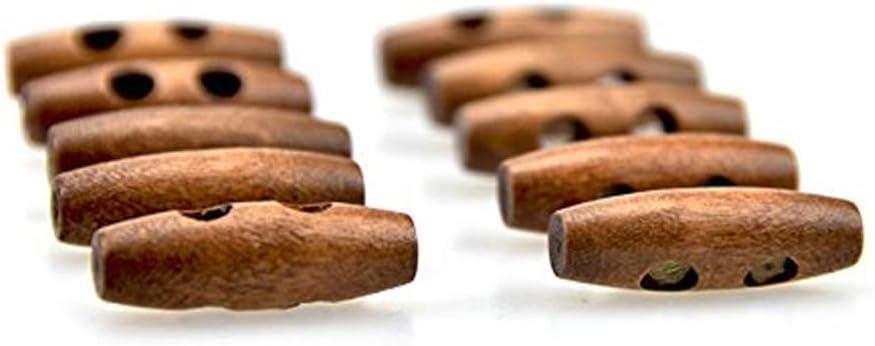 20 x Olive Form Holz Knebelknöpfe 2 Löcher Nähen Knöpfe für Kleidung Dekor