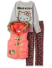 Hello Kitty Girls' 3 Piece Puffer Vest Set with Fashion Top and Printed Legging