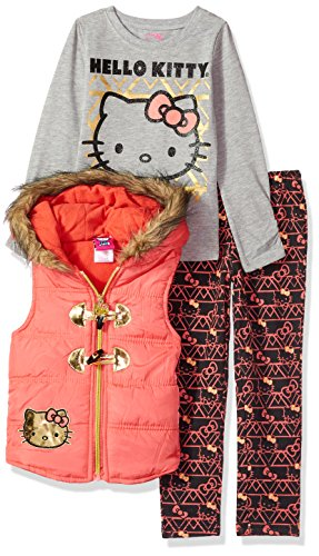 Hello Kitty Little Girls' 3 Piece Tee, Vest, and Legging Set , Coral, 5 (Hello Kitty Leggings)