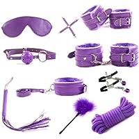 S~M~i M FORWIN US- Cinta De Peluche Conjunto De 10 Piezas/Traje Atado Esposas Atadas S M Tǒy Pareja Femenina (Color : Purple)
