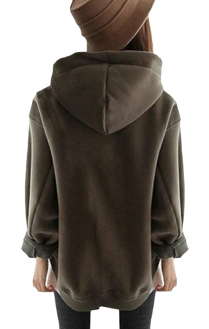 Pandapang Womens Slit Drawstring Drop Shoulder Sleeve Fleece Thicken Zipper Pullover Hooded Sweatshirts