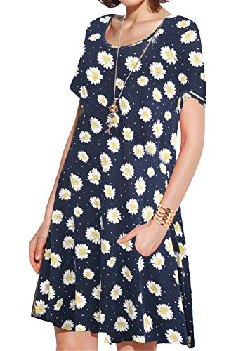 JollieLovin Women's Pockets Casual Swing Loose T-Shirt Dress (3-Navy Blue, 1X) ()