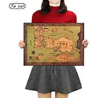 TIE LER Game of Thrones World Map Retro Kraft Paper Poster Interior Bar Cafe Decorative Painting Wall Sticker 42X30cm