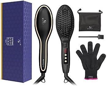 USpicy Hair Straightener Brush with Free Heat Resistant Glove