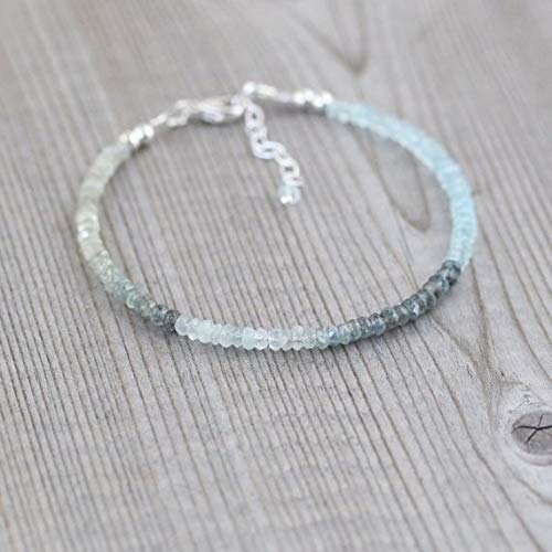 Sterling Silver Thin Stacking Bracelet Rose Gold FilledFilled Filled Jewellery 3mm by Gemswholesale Delicate Ombre Gemstone Jewelry Dainty Moss Aquamarine Beaded Bracelet