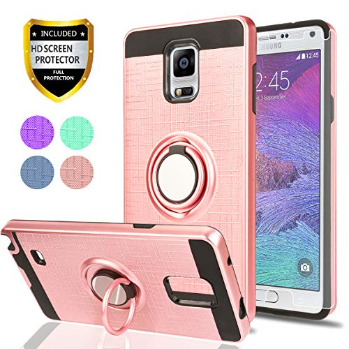 ote 4 Case HD Screen Protector,Ymhxcy 360 Degree Rotating Ring & Bracket Rubber Dual Layer Shock Bumper Resistant Back Cover Samsung Galaxy Note 4-ZH Rose Gold ()