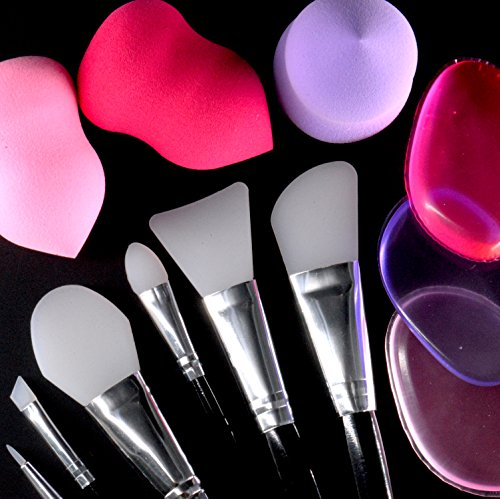 Makeup Set [12 PACK] - Premium Silicone Brushes (6), and Gel Sponges (3) / Powder Foam Teardrops (3)
