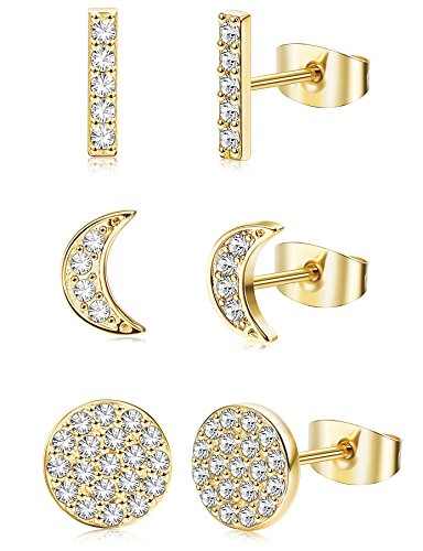 ORAZIO 3 Pairs Stainless Steel CZ Pave Earrings for Women Girls Circle Moon Stick Bar Stud Earrings 3 Colors -