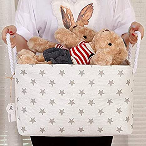 Plegable Rectangular Tela almacenamiento decorativo Organizador de armario estanter/ía cesta con asas de cuerda para el almacenamiento de ropa y organizador de juguete estrella gris