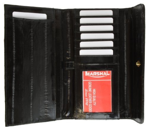 Purse Eel Skin (MJ Masters Women's Eel Skin Deluxe Wallet and Checkbook Cover, Black)