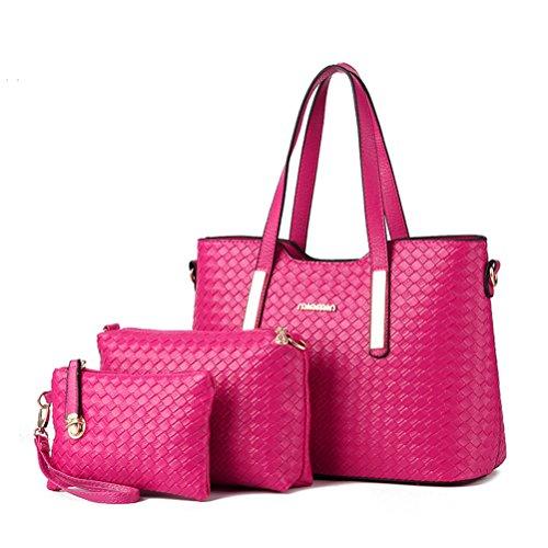 Cuir sac bandoulière epaule femme mode femme Rouge bandoulière Sac Sacoche sac à blanc à sac Sac loisir porte pu cuir sac Honeymall 3pcs main Aw8xFzaFq