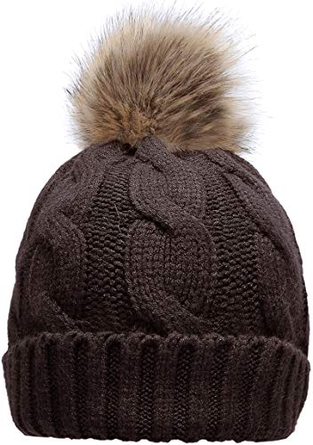 NEOSAN Women's Winter Ribbed Knit Faux Fur Pompoms Chunky Lined Beanie Hats Twist Coffee