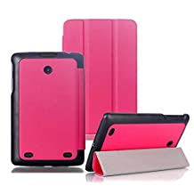 Tsmine LG G Pad 8.0 Slim Case - Premium Fold Magnetic Smart PU Leather Case Cover with Auto Sleep/Wake for LG G Pad 8.0 V480 / V481 / V490 Tablet (NOT Fit LG G Pad F 8.0 AT&T T-Mobile Versions), Hot Pink