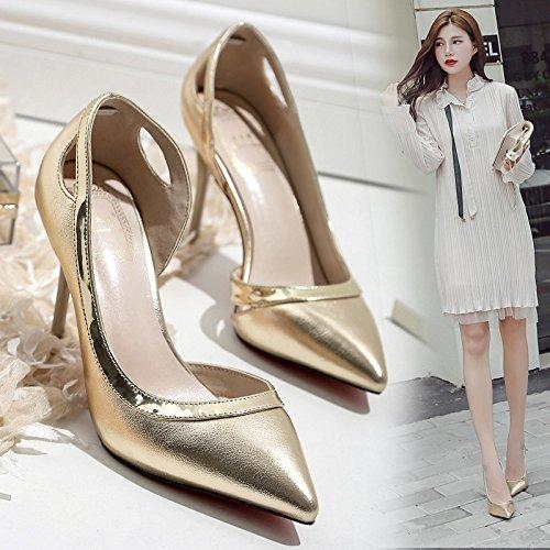Oro luz mujeres 9 patín carrera Shoes de lado cm Solo plata vacía 39 zapatos con alta de Heel Punta mujer la naturaleza delgado YRgqvFw