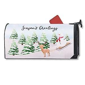 Navidad buzón–decorativa buzón magnético, Wrap con unas vacaciones de invierno diseño de reno y muñeco de nieve, para buzones de tamaño estándar, 17,25x 20,75pulgadas