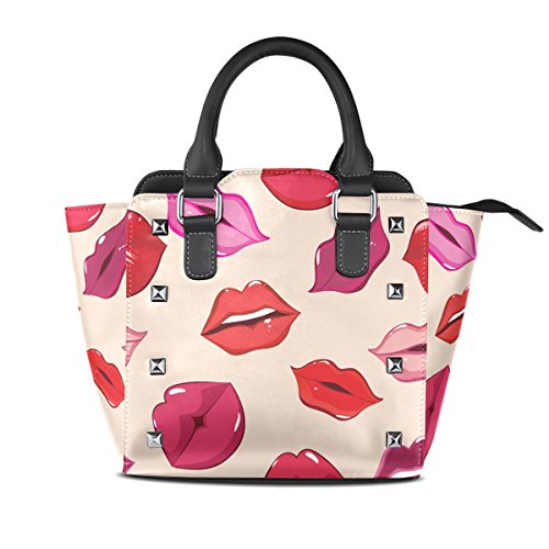 Bags TIZORAX Handle PU Lips Handbags Women's Shoulder Leather Print Of Top wqCw6v
