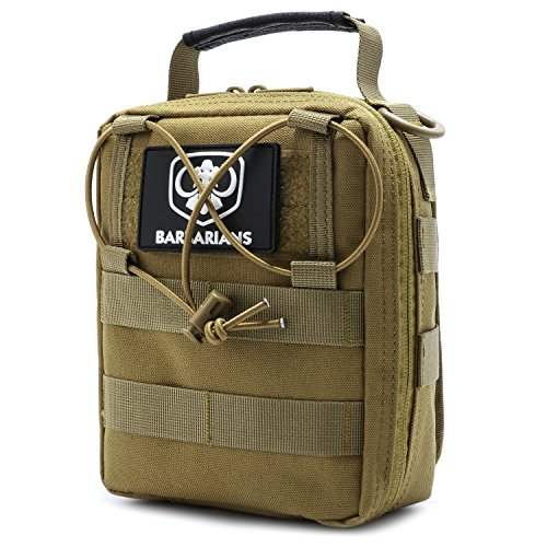 Barbarians Tactical MOLLE Pouch, Rip-Away EMT Medical First Aid Utility IFAK Pouch Tan