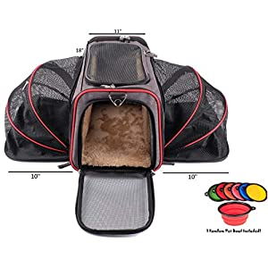 Petpeppy.com The Original Airline Approved Expandable Pet Carrier by Pet Peppy- Two Side Expansion, Designed for Cats, Dogs, Kittens,Puppies - Extra Spacious Soft Sided Carrier! (Black) 22