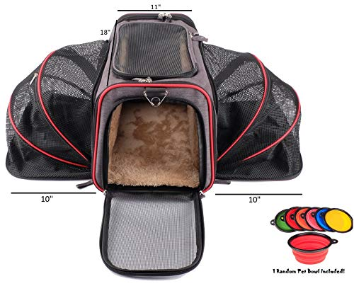 Petpeppy.com The Original Airline Approved Expandable Pet Carrier by Pet Peppy- Two Side Expansion, Designed for Cats, Dogs, Kittens,Puppies - Extra Spacious Soft Sided Carrier! (Black) ()