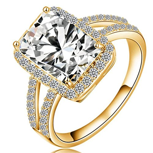 (FENDINA Womens Ciss Cross Solitaire Wedding Engagement Rings Best Promise Rings for Her - Princess Cut CZ Crystal - 18K Gold Plated)