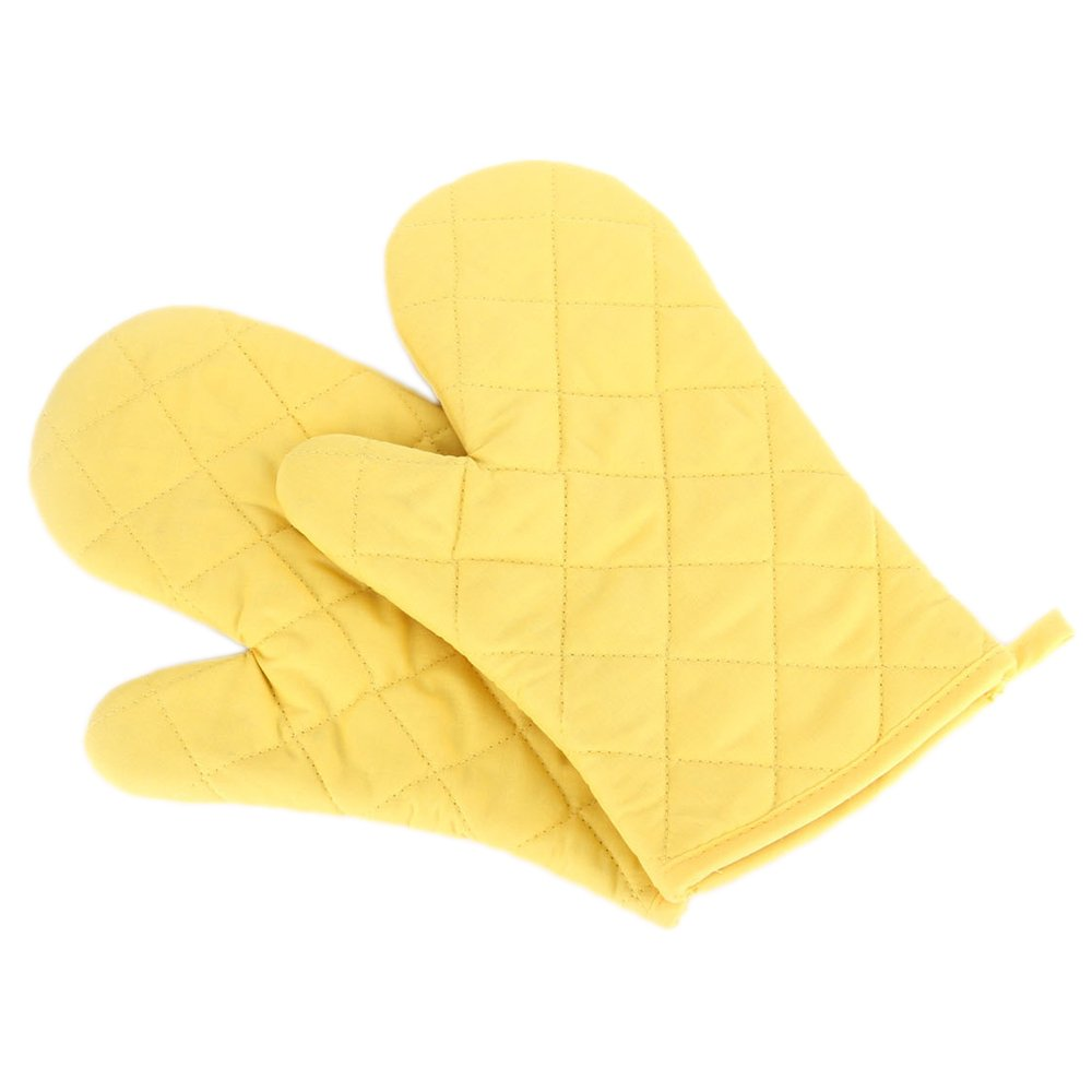 Potato001 Cotton Oven Mitt Heat Proof Resistant Protector Kitchen Cooking Pot Holder Glove (Yellow)