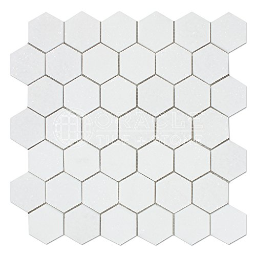 Travertine Flooring Polished (Thassos White Greek Marble 2 inch Hexagon Mosaic Tile, Polished)