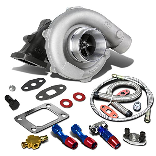 Supercharger Turbo - T04E T3/T4 4-Bolt Manifold Flange Stage III Universal Turbocharger+Oil Feed+Drain Line Turbine A/R .63
