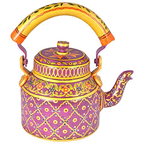 Indian Hand Painted Aluminium Pink and Yellow Color Hand Pai