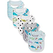Rosie Pope Baby 5 Pack Bibs, Sharks/Surf Boards Multi, OS