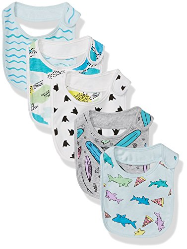 Rosie Pope Boys Baby 5 Pack Bibs, Sharks/Surf Boards Multi, One Size