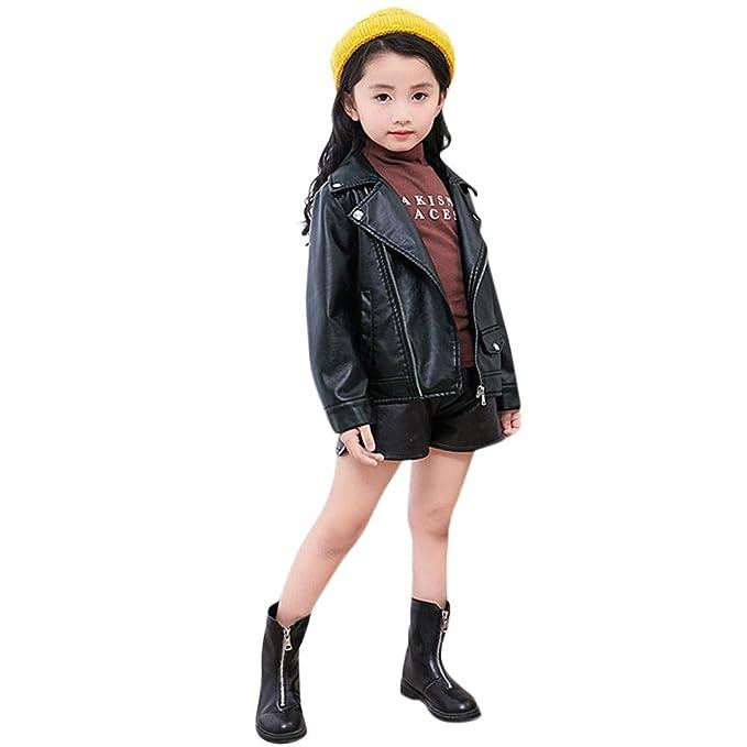 146f89076683 Amazon.com  XILALU Toddler Girls Boys Kids Baby Leather Coat Zipper ...
