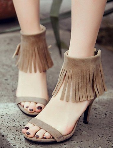ShangYi Womens Shoes Fleece Stiletto Heel Heels / Open Toe Sandals Office & Career / Dress / Casual Black / Gray / Almond almond