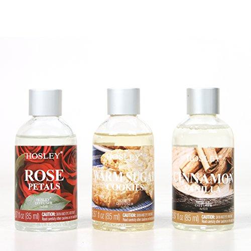 Hosley Cinnamon Vanilla, Warm Sugar Cookies, Rose Petal Reed Diffuser Refill Set of 3/85ml Glass Bottle Each Bulk Buy. Ideal Aromatherapy Gift for Wedding Party Poo Bathroom Spa, Meditation O5