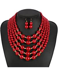 Statement Necklace, Multi Strand 5 Layers Simulated Pearl Statement Necklace Earrings Set