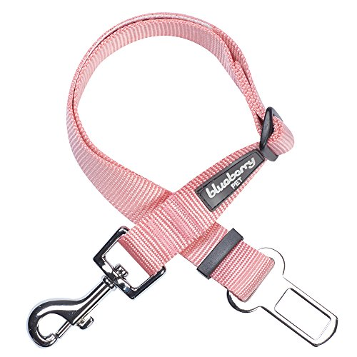 Blueberry Pet 19 Colors Classic Dog Seat Belt Tether for Dogs Cats, Baby Pink, Durable Safety Car Vehicle Seatbelts Leads Use with Harness ()