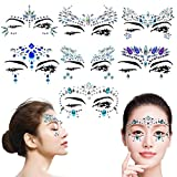 7 Sets Women Mermaid Face Gems Glitter,Rhinestone Rave Festival Face Jewels,Bindi Crystals Face Stickers, Eyes Face Body Temporary Tattoos for Music Festivals Vibe Bohemian Coachella