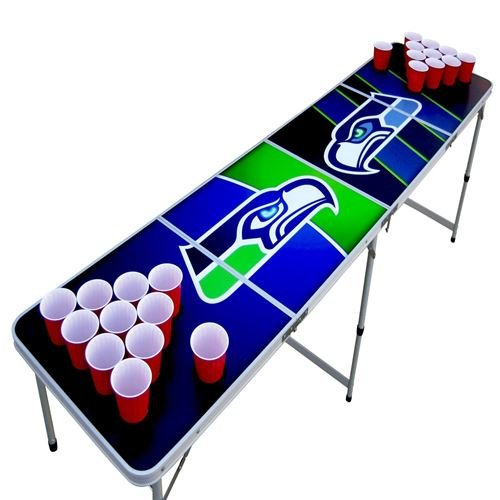 Seattle Beer Pong Table with Holes, 2x8, 8ft Tailgate Table with Recessed Cup Holes, Aluminum, Portable