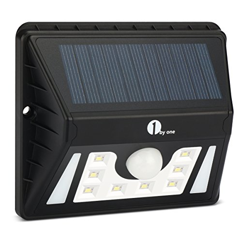 1byone Weatherproof Solar Powered Outdoor LED Light 3 Different Modes with Security Motion Sensor