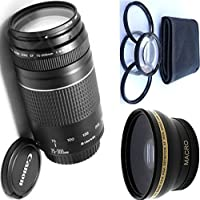 Canon 75-300mm III Zoom Lens + 4pc Macro Lenses Set (+1 +2 +4 +10) + High Definition Wide Angle Auxiliary Lens
