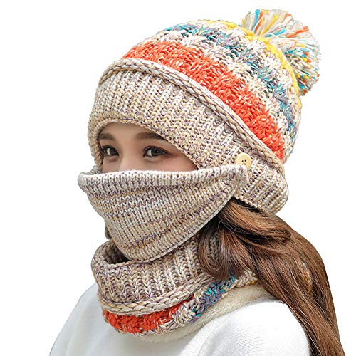 Fleece Lined Women Knit Beanie Scarf Mouth Mask Set for Girl Winter Ski Hat with Pompom (Beige)