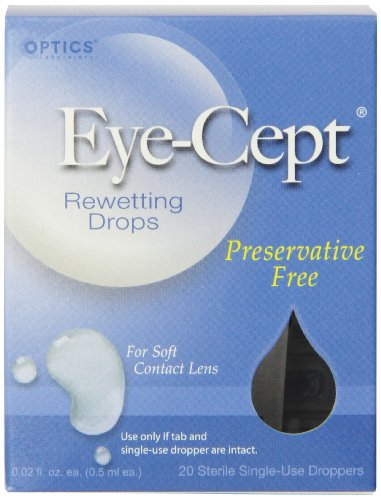 Rewetting Lens Drops (Optics Eye-Cept Rewetting Drops, 20-Count 0.02 fl oz (0.5 ml) droppers (Pack of 4))